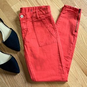 Tommy Hilfiger Orange Skinny Zipper Jeans D4